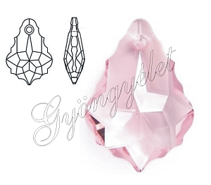 Swarovski barokk csepp light rose