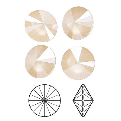 1122 Swarovski rivoli ivory cream, 14mm - 1db