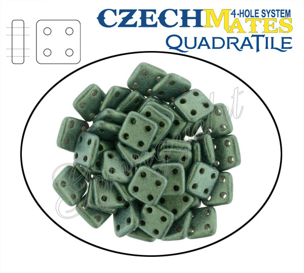 QuadraTile 79051 MJT zöld matt metál, 6mm - 25 db