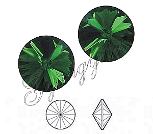 1122 Swarovski rivoli dark mossgreen, 8mm - 1db